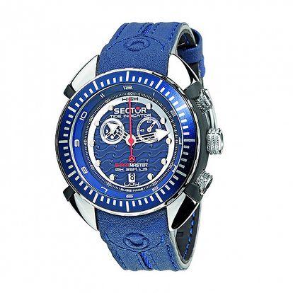 Pánske modré oceľové hodinky Sector s koženým remienkom