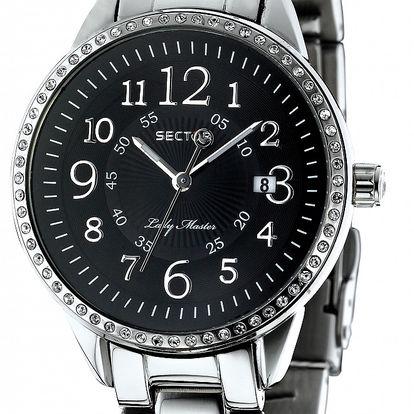 Dámske oceľové hodinky Sector s čiernym ciferíkom a kamienkami
