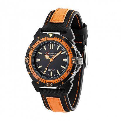 Pánske čierno-oranžové oceľové hodinky Sector s koženým remienkom