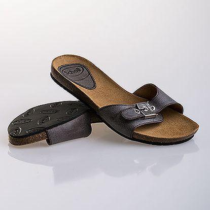 Světle šedé kožené pantofle Scholl