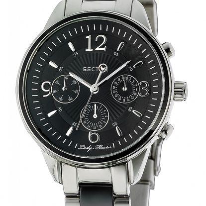 Dámske oceľové hodinky Sector s čiernym ciferíkom