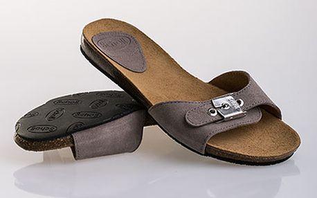Béžové kožené pantofle Scholl