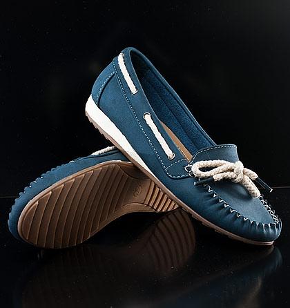 Dámské modré mokasíny
