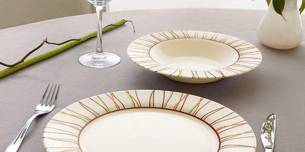 Stylová barevná jídelní souprava Embrodery Bone - set 19 kusů nádobí.