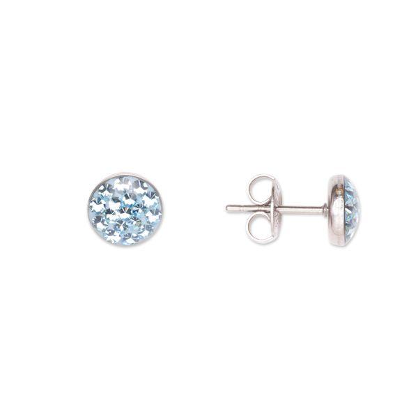 Dámské peckové náušnice Swarovski Elements se světle modrými krystaly