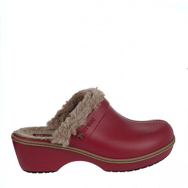 Dámské červené dřeváky Crocs s kožíškem