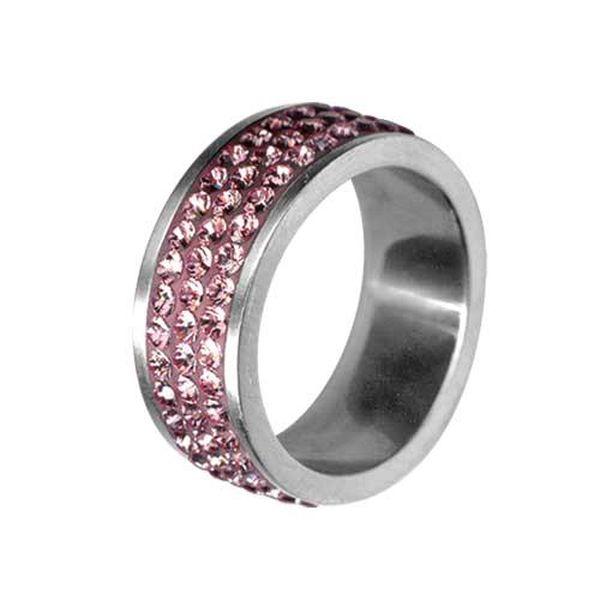 Dámský ocelový prsten Swarovski Elements s růžovými krystaly
