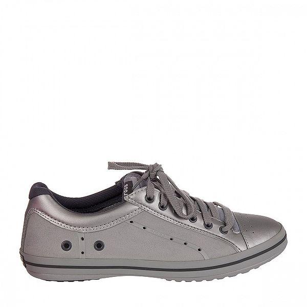 Pánské stříbrno-šedé kožené tenisky Crocs