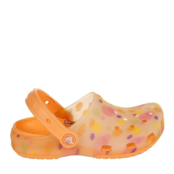 Dívčí oranžové pantofle s puntíky Crocs