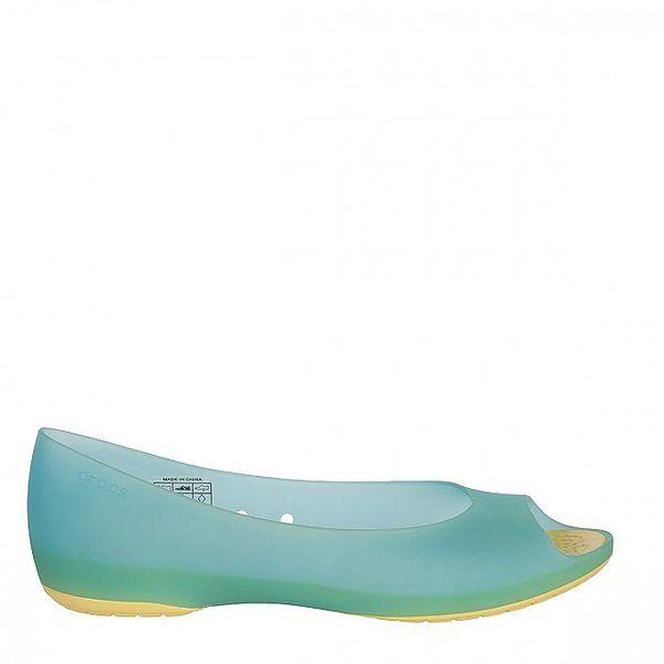 Dámske modro-žlté baleríny Crocs s otvorenou špičkou