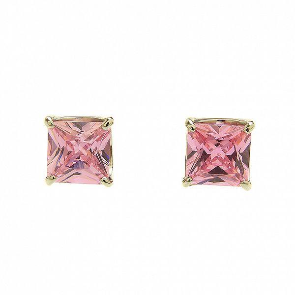 Dámske náušnice Swarovski Elements ružové štvorčeky