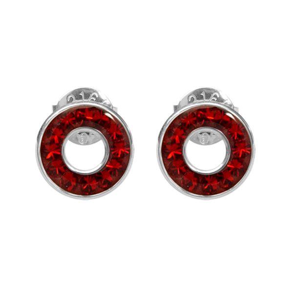 Dámské kulaté náušnice Swarovski Elements s červenými krystaly