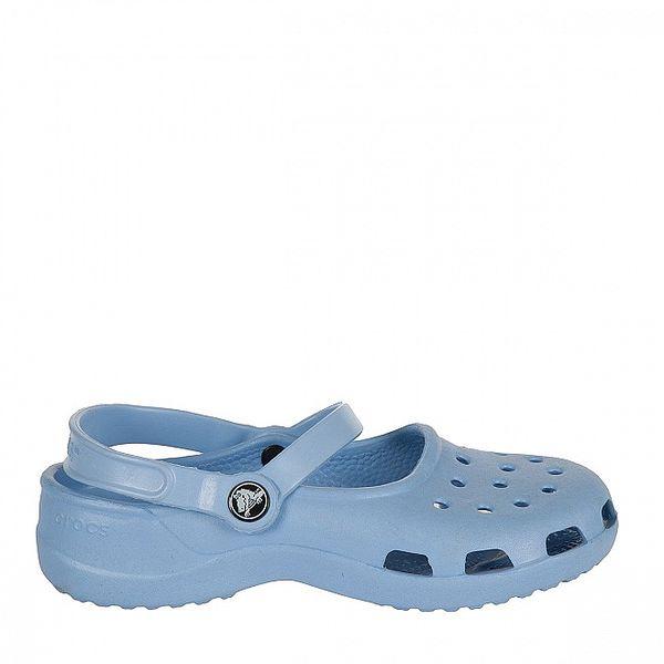 Dievčenské bledo modré papuče s pásikom Crocs
