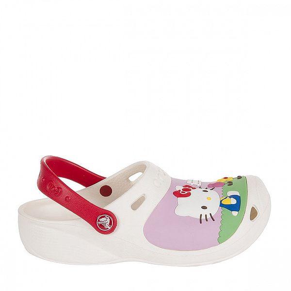 Dívčí bílé Hello Kitty pantofle Crocs