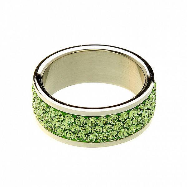 Dámsky oceľový prsteň Swarovski Elements so zelenými kryštálmi