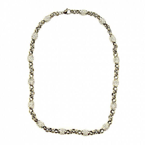 Dámsky oceľový náhrdelník Swarovski Elements s čirými kryštálmi
