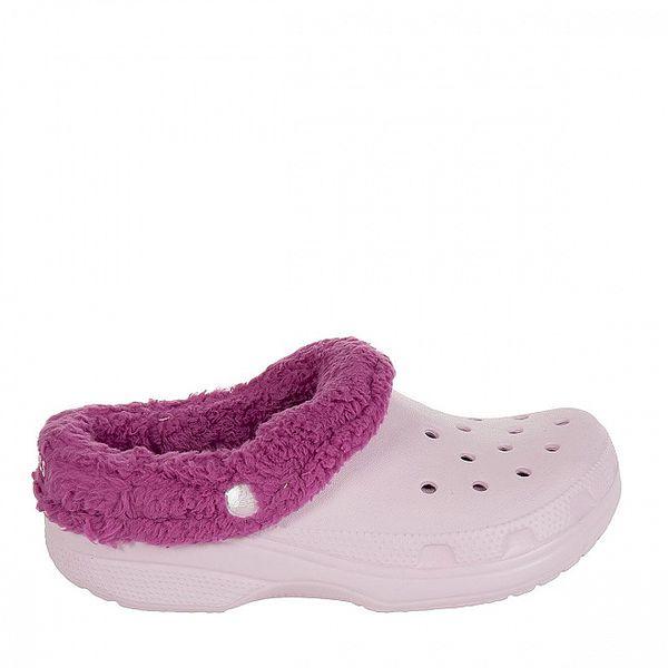 Dievčenské ružové papuče s plyšovým vnútrom Crocs