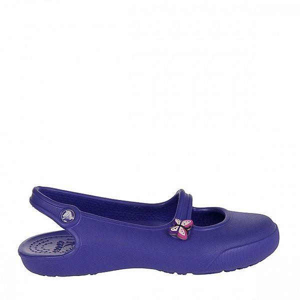 Dievčenské fialové papuče s motýom Crocs