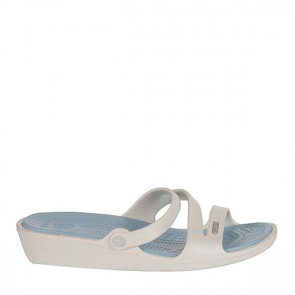 Dámské bílo-modré pantofle Crocs s masážní stélkou
