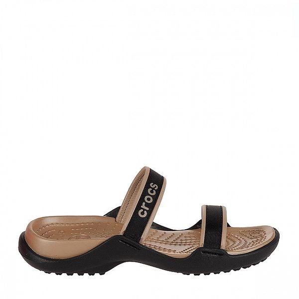 Dámske čierno-zlaté papuče Crocs s textilnými pásikmi