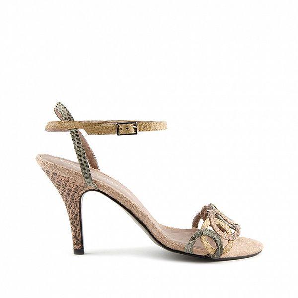 Dámské růžovo-béžové páskové boty Lise Lindvig s hadím motivem