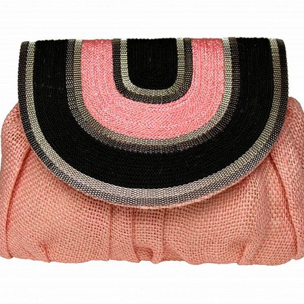 Dámská růžová lněná kabelka Tantra s řetízkem a černým detailem
