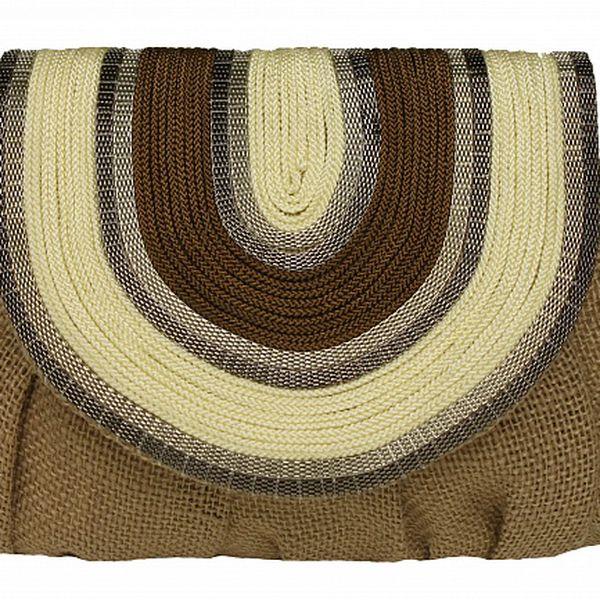 Dámská hnědo-béžová lněná kabelka Tantra s řetízkem