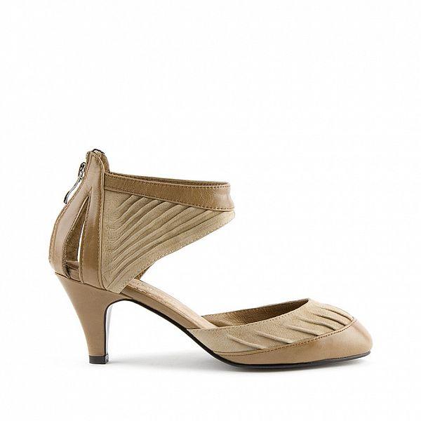 Dámské světle hnědé kožené sandály Lise Lindvig s pevnou patou