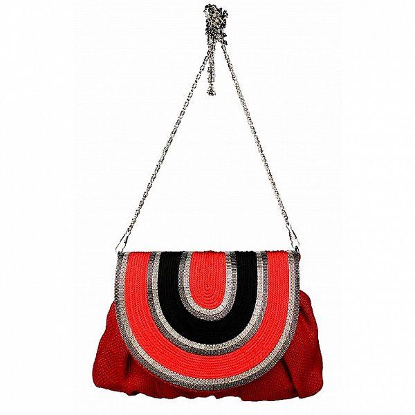 Dámská červená lněná kabelka Tantra s řetízkem a černým detailem