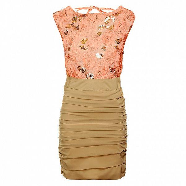 Dámske ružovo-béžové šaty Lucy Paris so zlatými flitrami a ružami