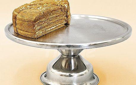Nerezový podnos k servírování dortů, bábovek, cukroví a jiných oblíbených dobrot.