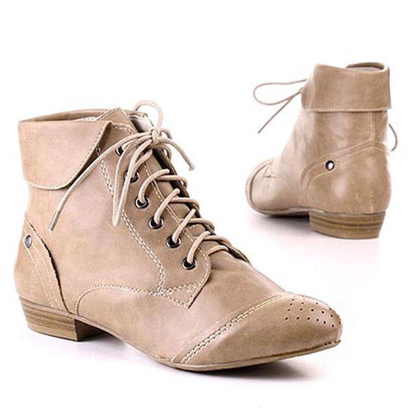 Béžové kotníčkové boty