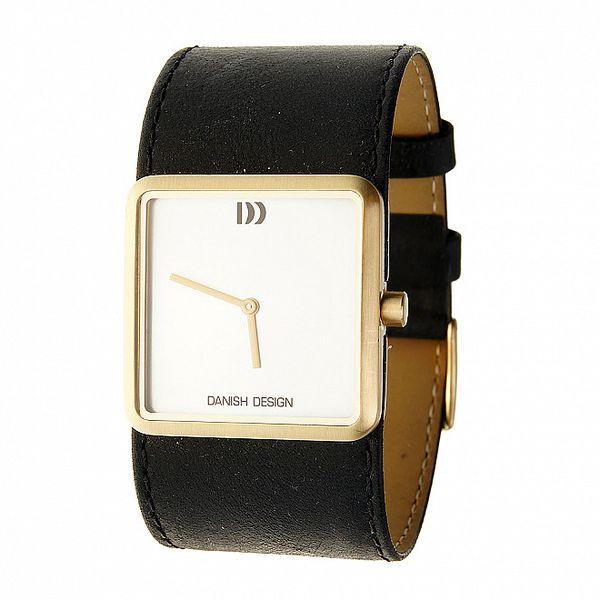 Dámske oceľové hodinky Danish Design s čiernym koženým pásikom