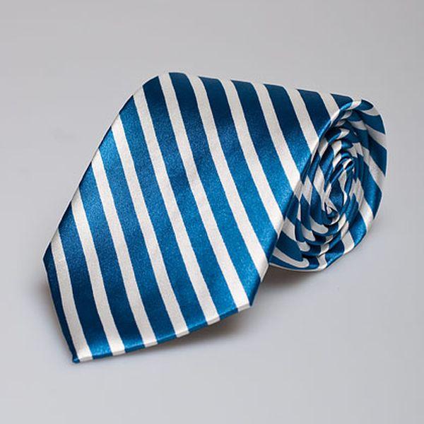 Modro-bílá pruhovaná kravata