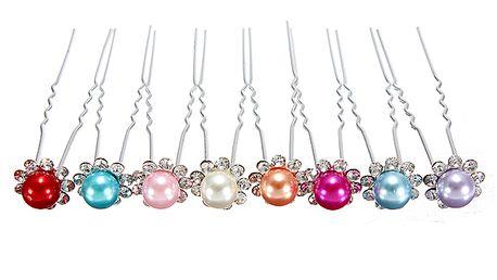 Sponky do vlasů s barevnou perlou a třpytivými kamínky - 5 kusů a poštovné ZDARMA! - 81