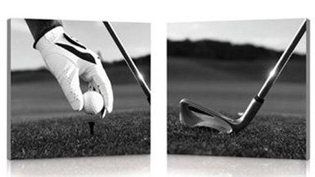 Černo-bílý obraz - 2ks, na plátně s dřevěným rámem s golfovým motivem.