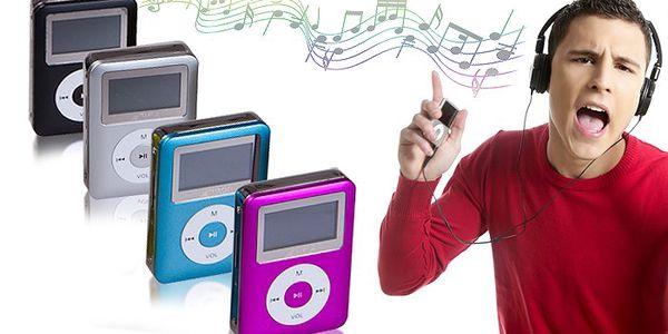 Mini MP3 přehrávač s LCD displejem a sluchátky, vyberte si z několika barevných variant