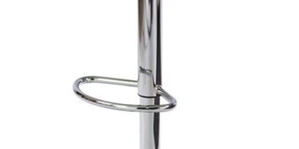 Barová židle, stříbrný sedák + zelený bok, plast,chrom