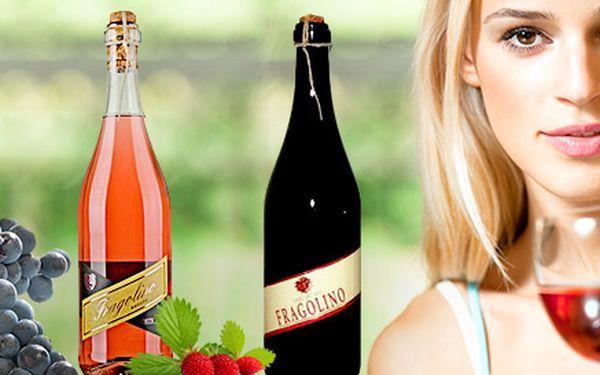 Ružové a červené perlivé jahodové víno Fragolino