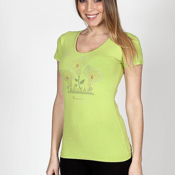 Dámské limetkové tričko Braccialini s tropickými květy
