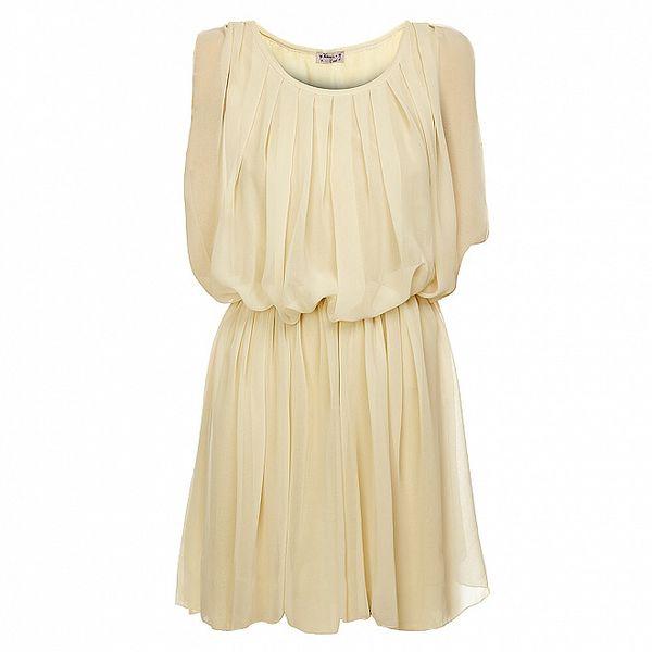 Dámské krémové nabírané šaty Victoria Look