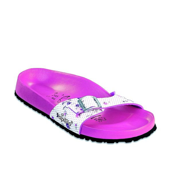 Dámske ružové ortopedické papuče Papillio s bielym pásikom