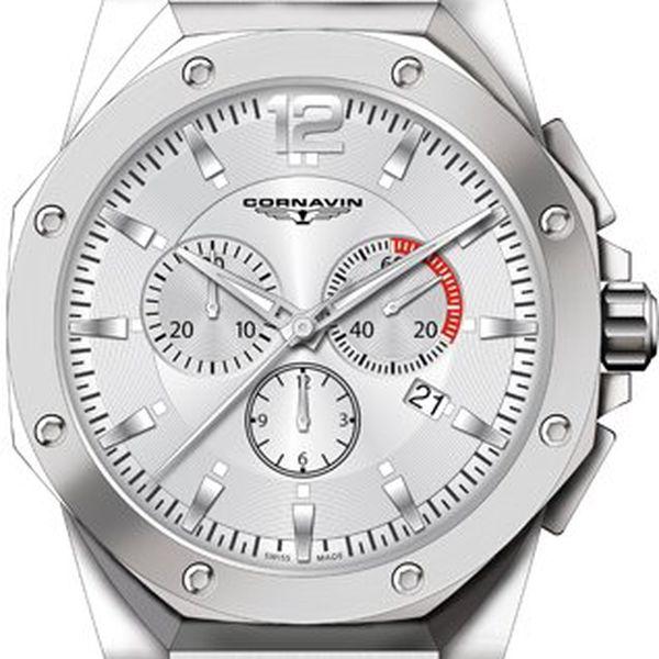 Elegantní pánské hodinky Cornavin. Celoocelové provedení. Chráněno safírovým sklem.