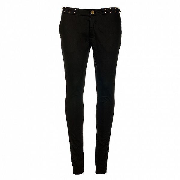 Dámske čierne nohavice Victoria Look s kovovými cvokmi