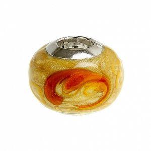 Dámský oranžovo-hnědý korálek Bacio se třpytkami
