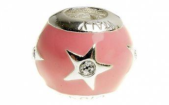 Dámský růžový smaltovaný korálek s hvězdou Bacio