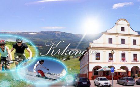 Ubytování pro DVĚ OSOBY na DVĚ NOCI s POLOPENZÍ v Hotelu Pošta*** za jedinečných 999 Kč! Přijeďte si odpočinout do krásné přírody Krkonoš na jaře, v létě nebo v zimě se slevou 58%! Platnost voucheru až do prosince 2013!