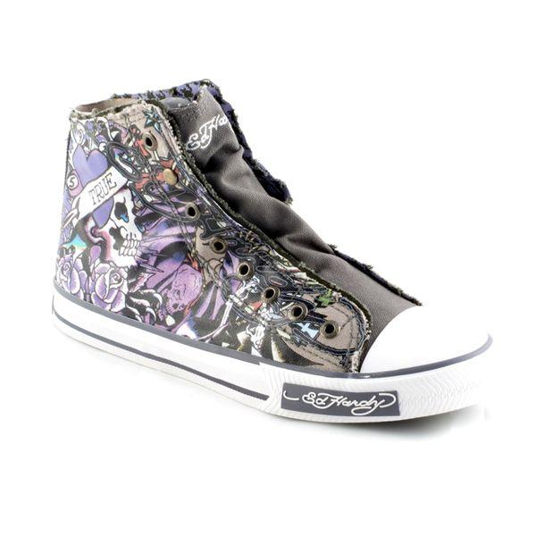 Pánské boty Ed Hardy šedé-fialové