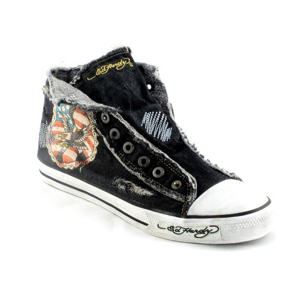 Pánské boty Ed Hardy černé džínové s moderním potiskem