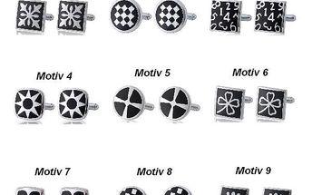 Manžetové knoflíčky s černým dekorem - na výběr z 9 motivů a poštovné ZDARMA! - 83